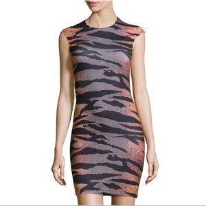 McQ Alexander McQueen Cap-Sleeve Tiger Knit Dress